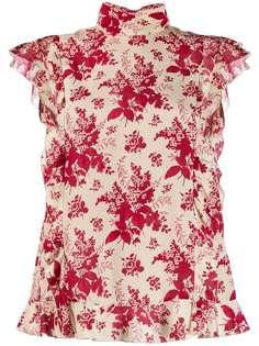 Red Valentino блузка с оборками и цветочным принтом
