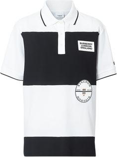 Burberry полосатая рубашка-поло оверсайз с логотипом-аппликацией