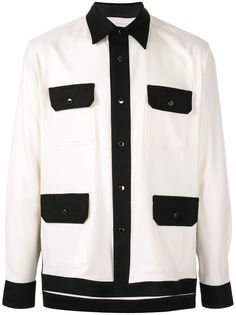 Fumito Ganryu рубашка с контрастными вставками