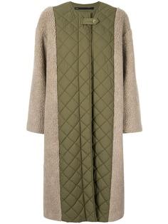 Muller Of Yoshiokubo стеганое пальто миди с контрастной вставкой