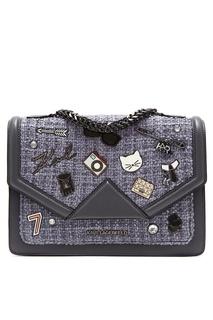 Серая комбинированная сумка с отделкой Karl Lagerfeld