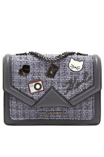 Комбинированная серая сумка с отделкой Karl Lagerfeld