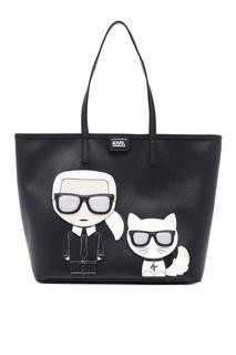 Черная сумка с фирменными аппликациями Karl Lagerfeld