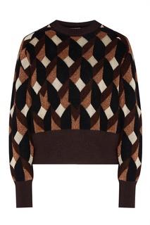 Коричневый свитер с геометрическими узорами Hugo Boss