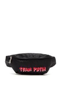 Черная поясная сумка с красным логотипом Team Putin