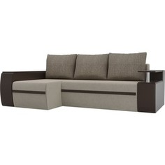 Угловой диван АртМебель Майами микровельвет бежевый/экокожа коричневый подушки корфу 03 левый угол