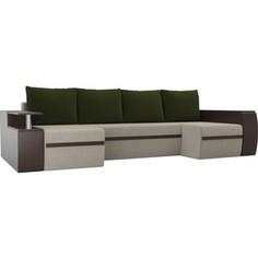 П-образный диван АртМебель Майами микровельвет бежевый экокожа коричневый подушки микровельвет зеленый