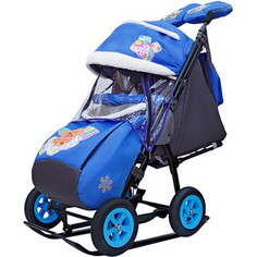 Санки коляска GALAXY SNOW City-1-1 2 Медведя на облаке на синем на больших надувных колёсах+сумка+ва
