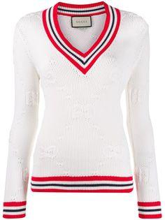 Gucci свитер с V-образным вырезом и логотипом