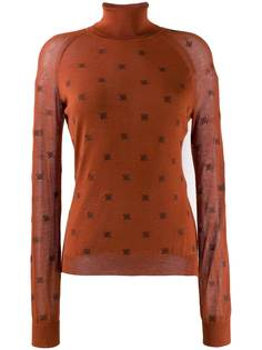 Fendi свитер с высоким воротником и логотипом FF