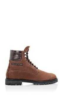 Коричневые замшевые ботинки со вставкой Philipp Plein