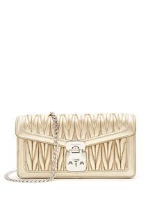 Золотистая мини-сумка из стеганой кожи Miu Miu
