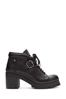 Черные ботинки из фактурной кожи на каблуке Miu Miu