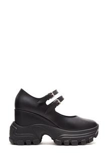 Кожаные туфли на резиновой платформе Miu Miu