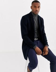Темно-синее пальто с добавлением шерсти Jack & Jones Premium