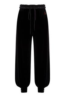 Черные велюровые джоггеры с вышитыми монограммами Gucci