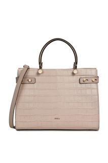 Светло-розовая сумка Lady из кожи с тиснением под крокодила Furla