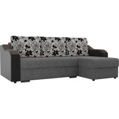 Угловой диван Лига Диванов Монако рогожка серый подокотники экокожа черные подушки рогожка на флоке правый угол