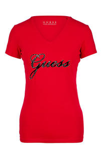 Футболка женская Guess W93I71-J1300-G5A6 красная/черная XS