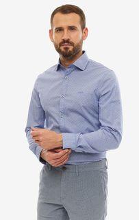 Рубашка мужская Guess M93H13-WBRF0-FGY6 синяя/белая XXL
