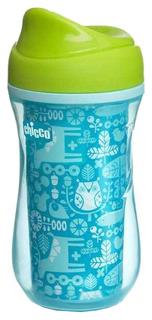 Чашка-поильник Chicco Active Cup носик с ободком, 266 мл, Голубой с орнаментом