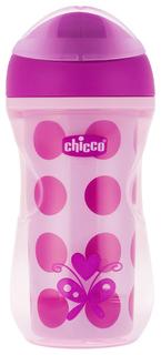 Чашка-поильник Chicco Active Cup носик с ободком, 266 мл, Розовый в горох