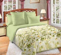 """Постельное белье """"Магнолия 2"""" зеленое с цветами 1,5-спальное Текс Дизайн"""