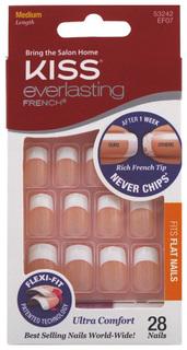 Накладные ногти c клеем Kiss Everlasting Ультра стойкий французский маникюр EF07