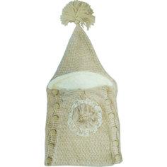 Конверт Папитто вязаный на пуговицах Цветок бежевый 0-3 6122