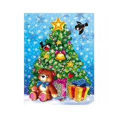 Мозаика из помпонов Новогодняя елка Рыжий кот