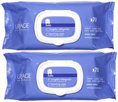 Набор Uriage Первые очищающие салфетки 2х70 шт