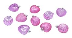 Набор елочных украшений Snowmen Ракушки и сердечки Е93114 Розовый