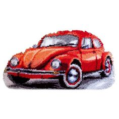 """Коврик (ковровая техника) Vervaco """"Фольксваген красный жук"""" 40x40 см, 0147487-PN"""
