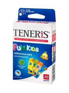 Пластырь Teneris Fun Kids бактерицидный на полимерной основе с рисунками 20 шт.