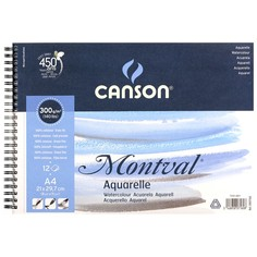 Canson Альбом на спирали для акварели Montval CANSON, 300г/м2, 21х29.7см, Фин, 12 листов