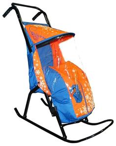 Санки-коляска RT Снегурочка-2-Р1 Снежинки цвет Голубой/Оранжевый
