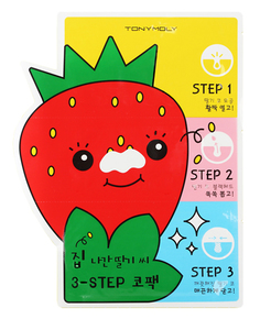 Патчи для очищения кожи Tony Moly Homeless Strawberry Seeds 3-step Nose Pack