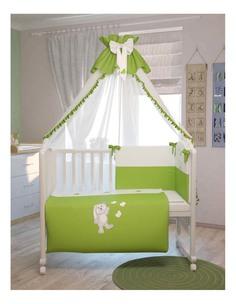 Комплект детского постельного белья Тополь Polini Зайки 7 предметов 120 х 60 зеленый