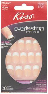 Накладные ногти c клеем Kiss Everlasting Ультра стойкий французский маникюр EF05