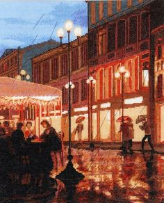 """Набор для вышивания Hobby&Pro """"Дождь в городе"""", 32х39 см, 712"""