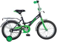 Велосипед Strike со страховочными колесами, черно-зеленый Novatrack Strike 14''