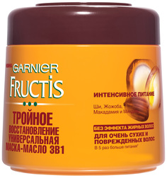 Маска для волос Garnier Fructis 3 в 1 Тройное восстановление 300мл