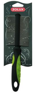 Расческа для собак ZOLUX металл, цвет черный, зеленый