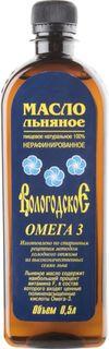 Масло Вологодское льняное пищевое натуральное 100% омега 3 нерафинированное 0.5 л