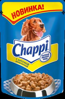 Влажный корм для собак Chappi Сытный мясной обед, курица, 24шт, 100г