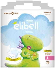 Подгузники Elibell Premium S, 4-8 кг 76 шт