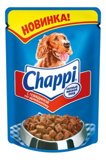 Влажный корм для собак Chappi Сытный мясной обед, говядина, 24шт, 100г