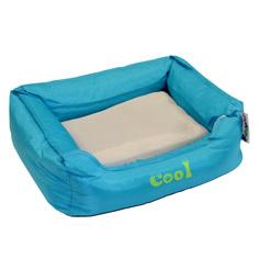 Лежак для животных FOXIE Cooling с охлаждающим ковриком, голубой, 61х48х18см