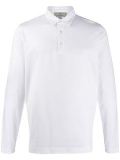 Canali однотонная рубашка-поло с длинными рукавами