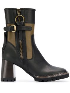 See By Chloé ботинки в стиле колор-блок на массивном каблуке